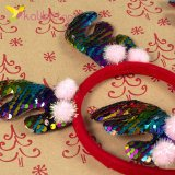 Новогодние рожки с разноцветной пайеткой оптом фото 4844
