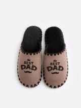 Мужские домашние тапочки The Best Dad мокко закрытые, Family Story - 4