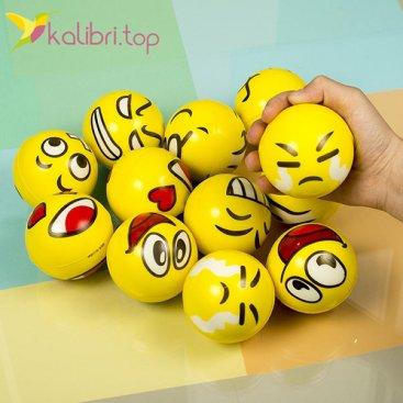 Мячики мягкие, поролоновые Смайлики, оптом - фото 1