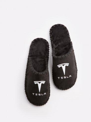 Мужские домашние тапочки Tesla черные закрытые, Family Story - 1