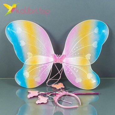 Карнавальные крылья бабочки радужный, оптом фото 1