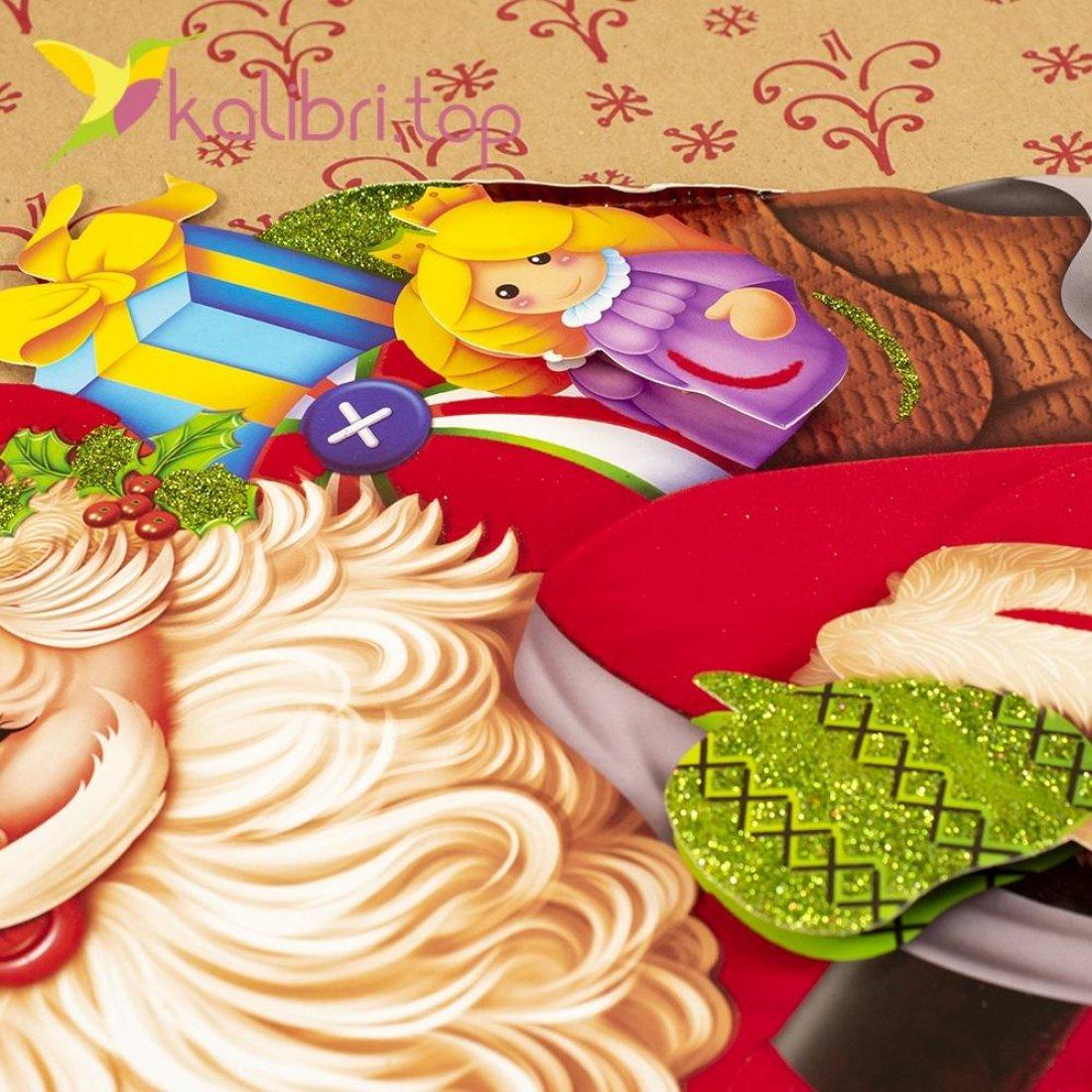 Новогодние наклейки Дед Мороз и эльф 64 см оптом фото 19145