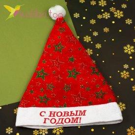 Новогодняя шапка Деда Мороза звёзды, оптом фото 1