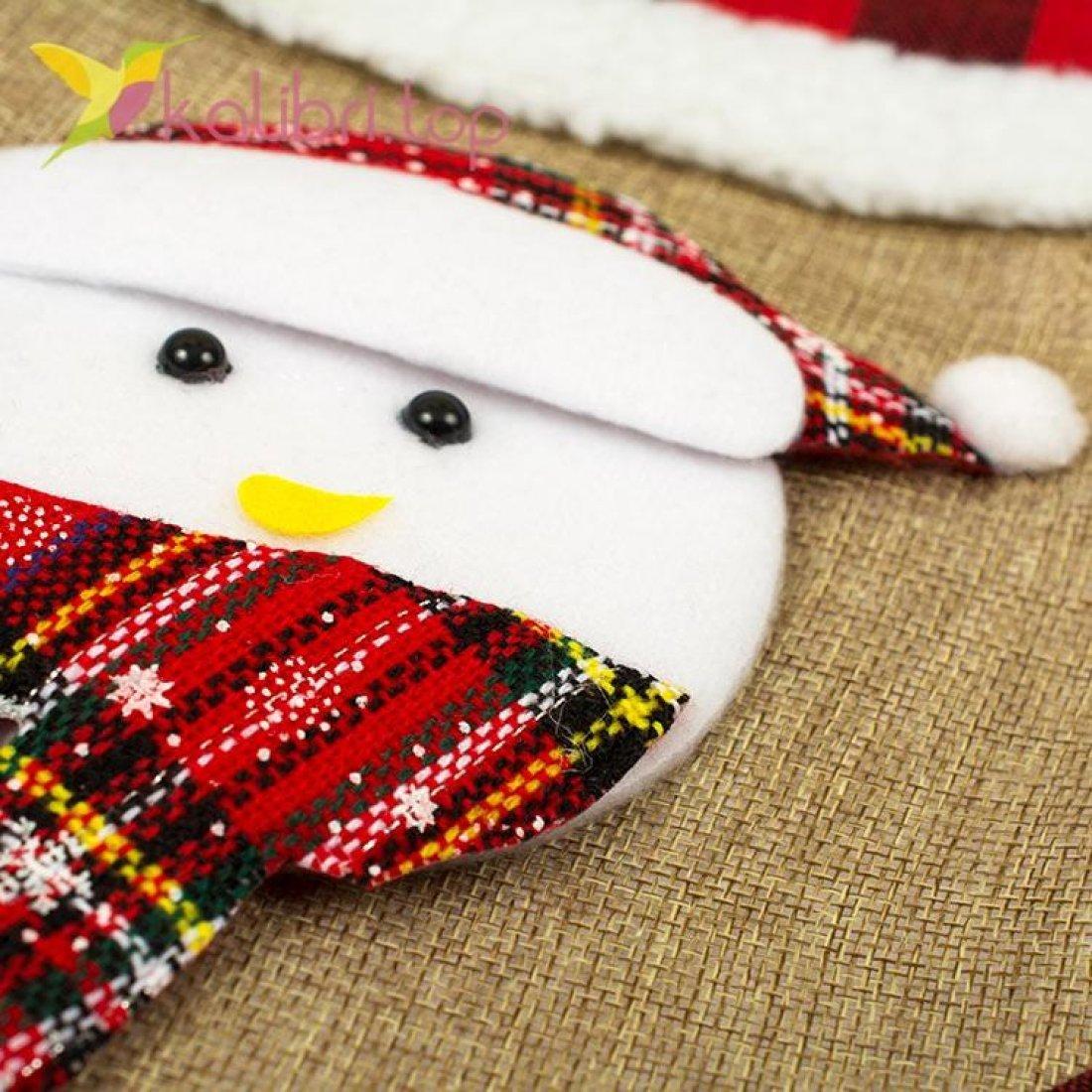 Носок для подарков большой с снеговиком, оптом фото 2