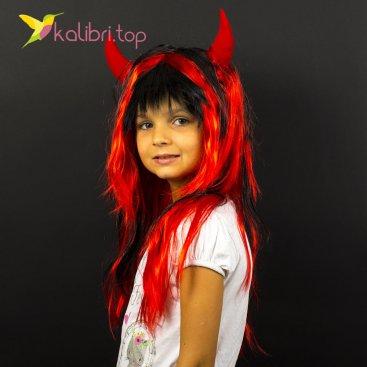 Парик карнавальный с рожками, дьявола, чертика оптом фото 01