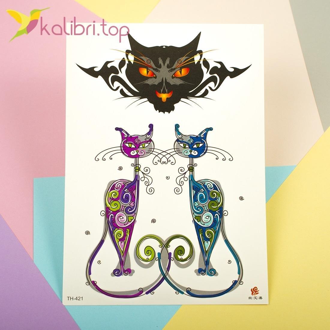 Детские временные, переводные татуировки - прикольные коты, оптом - фото 1
