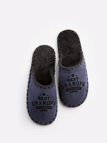 Мужские домашние тапочки Best Grandpa In The World темно-синие закрытые, Family Story - 1