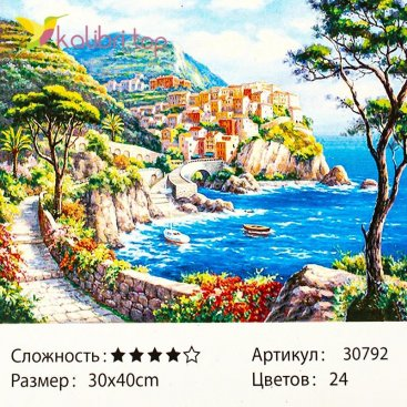 Рисования по номерам Залив с домами 30*40 см оптом фото 1