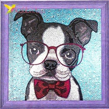 Алмазная мозаика по номерам Собачка и очки 30*30 см оптом фото 2777