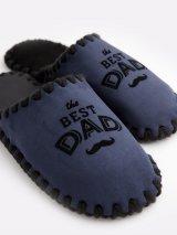 Мужские домашние тапочки The Best Dad темно-синие закрытые, Family Story - 3