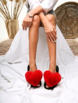 Женские домашние тапочки с сердечками цвета Кардинал, Family Story - 1