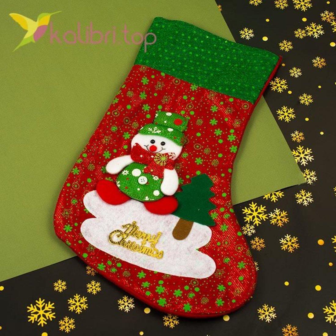 Сапожок для подарков большой с снеговиком 5, оптом фото 1