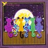 Алмазная мозаика по номерам Коты, Забор, Луна 30*30 см оптом фото 147