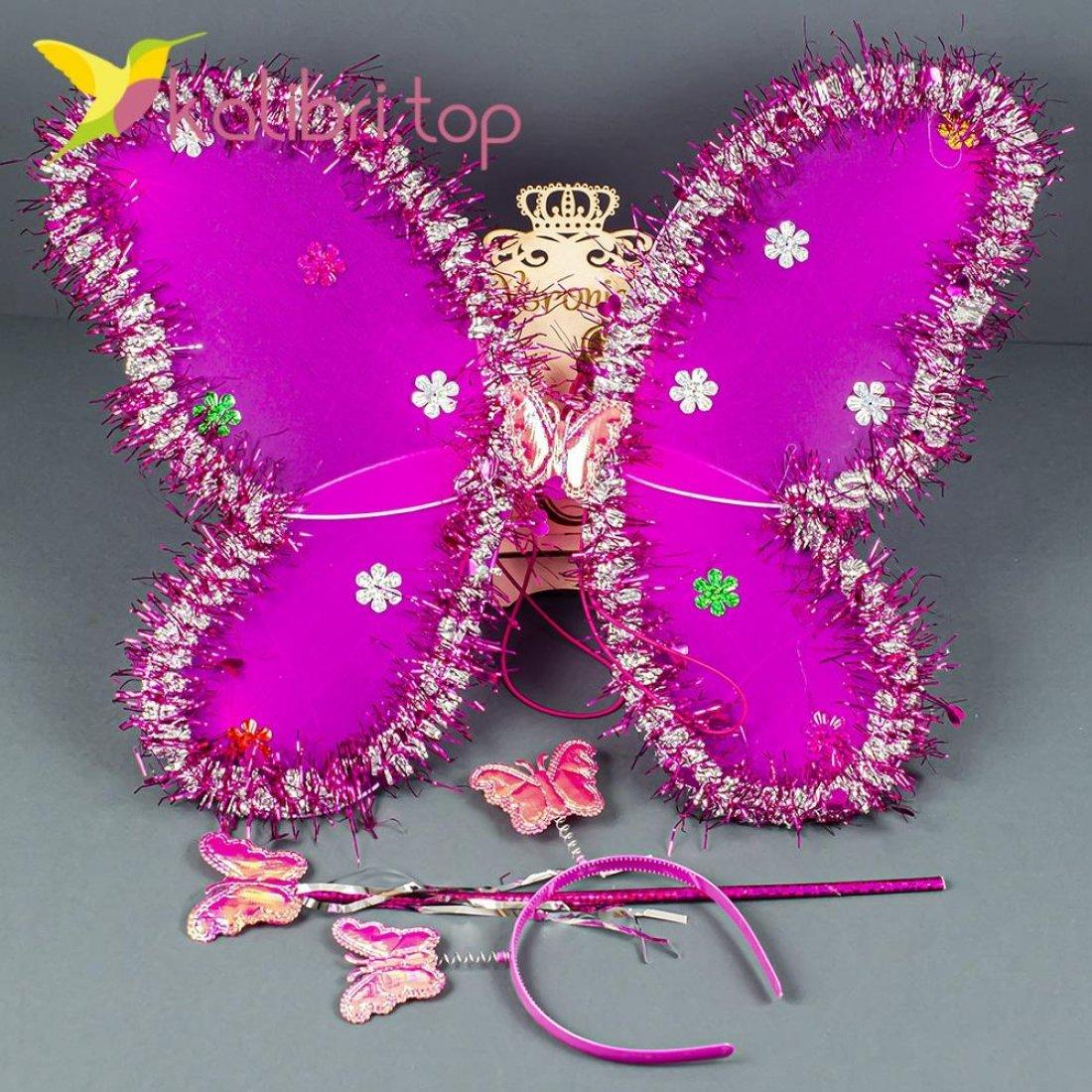 Набор карнавальный крылья бабочки малиновый оптом фото 1