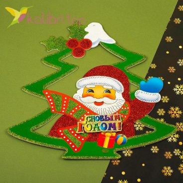 Новогодние наклейки Ёлка из пенопласта, оптом фото 1