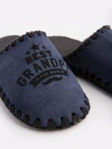 Мужские домашние тапочки Best Grandpa In The World темно-синие закрытые, Family Story - 3