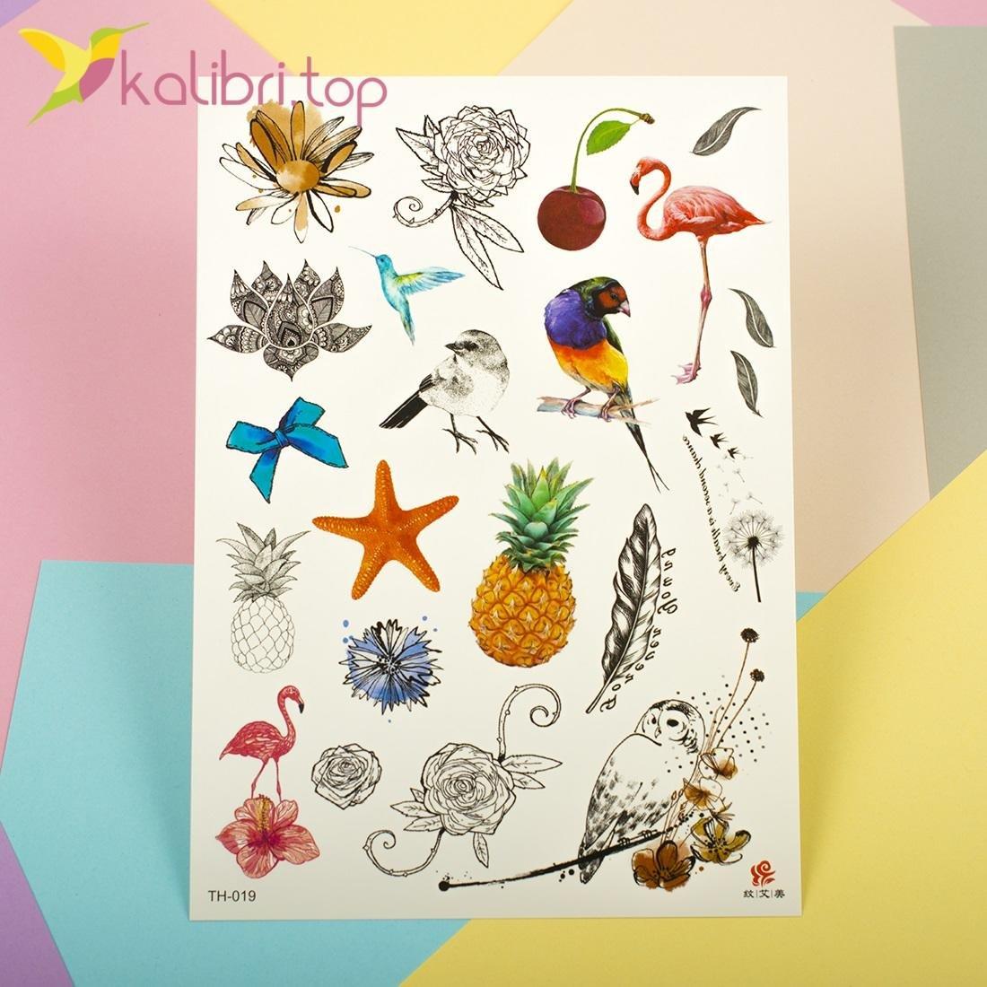 Детские, временные татуировки, тату, татушки - птички, фрукты оптом фото 1