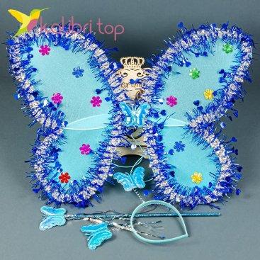 Набор карнавальный крылья бабочки голубой, оптом фото 1