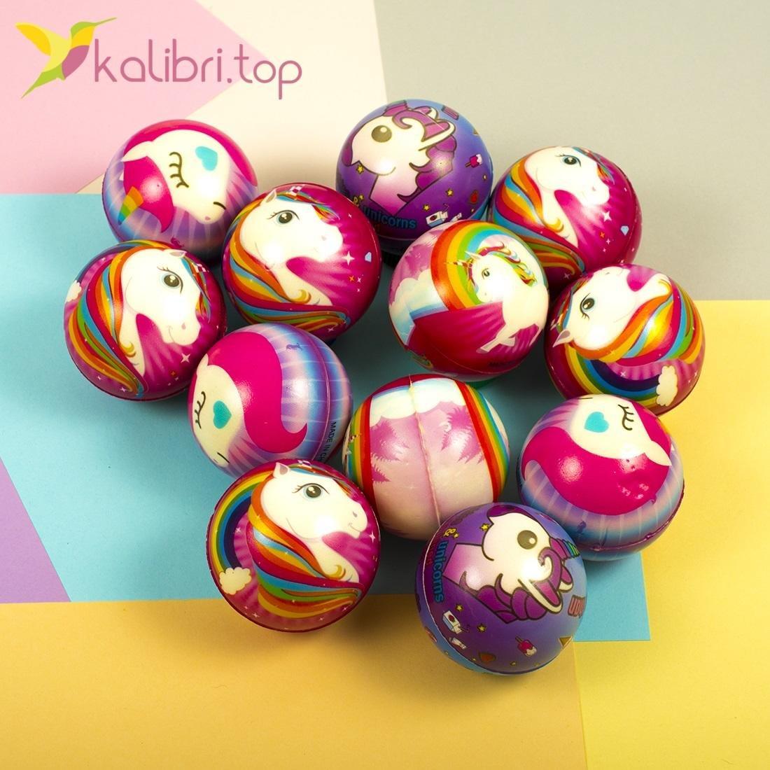 Мячики мягкие, поролоновые Единороги, оптом - фото 1
