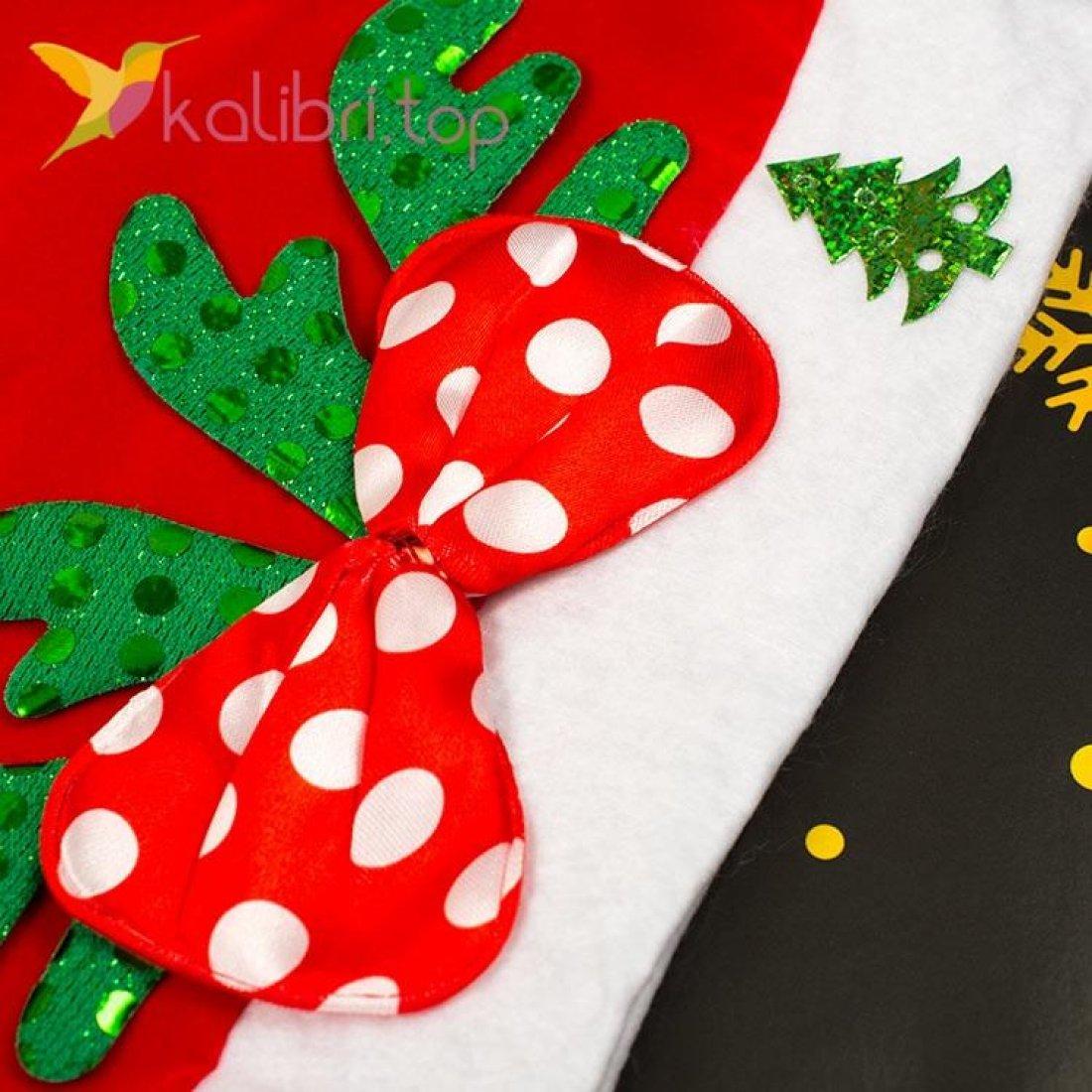 Новогодняя шапка Деда Мороза бантик зелёный, оптом фото 2