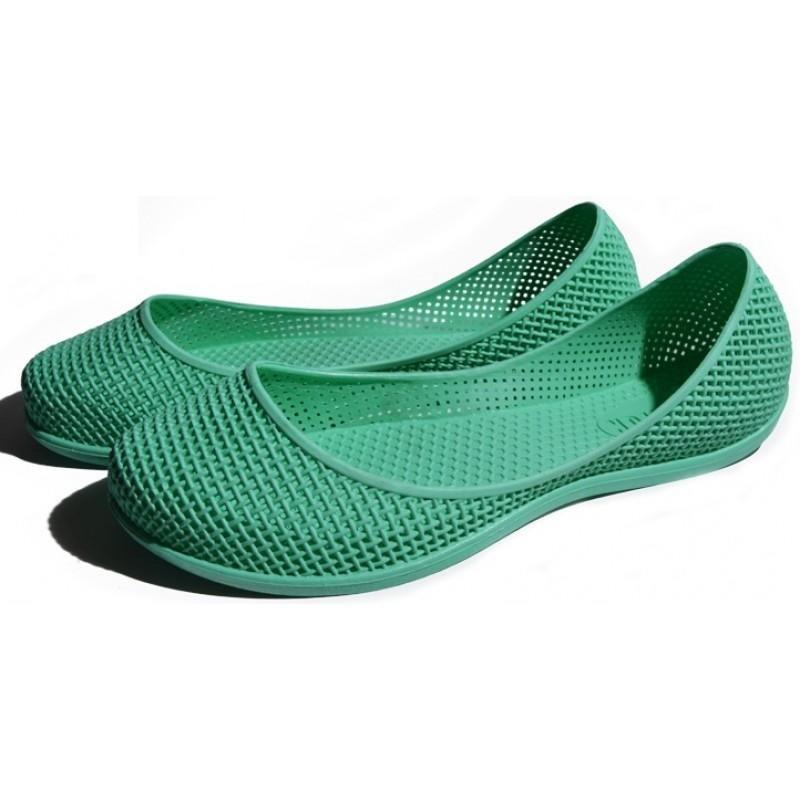 Женские балетки оптом 1619 ПВХ зеленые, 4rest, обувь оптом