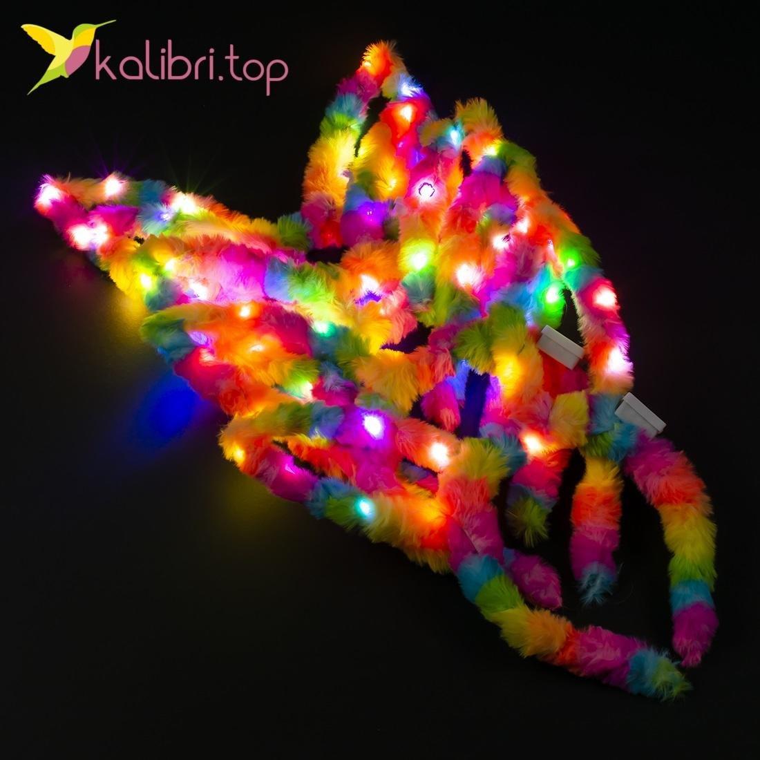 Детский светящийся обруч меховые ушки оптом фото 011