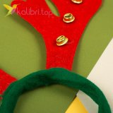 Ободок Новогодний Оленьи рога с колокольчиком, оптом фото 2