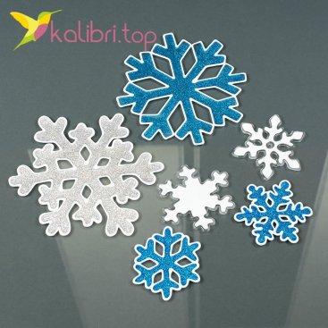 Новогодние силиконовые наклейки на окна Снежинки оптом фото 15