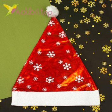 Новогодняя шапка Деда Мороза с бубончиком, оптом фото 1