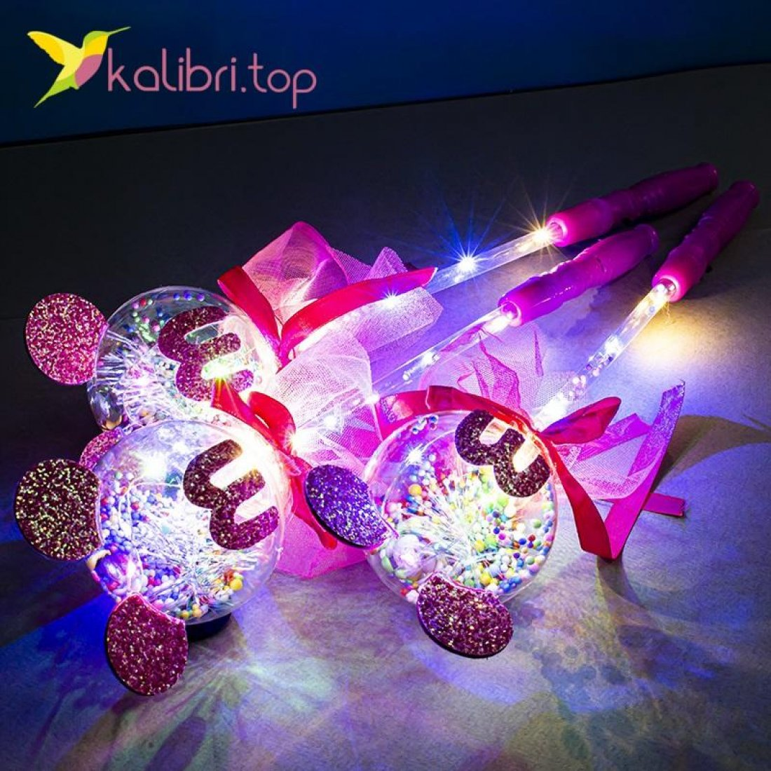 Светящиеся палочки Миккии розовые оптом фото 14