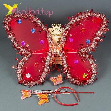 Набор карнавальный крылья бабочки красный, оптом фото 1