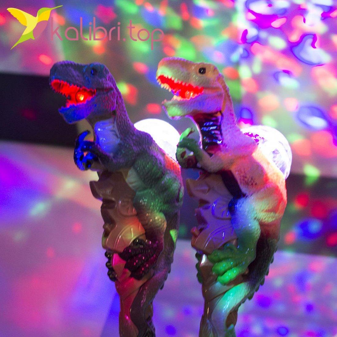 Игрушечные светящиеся, музыкальные микрофоны с проектором Динозавры оптом фото 1