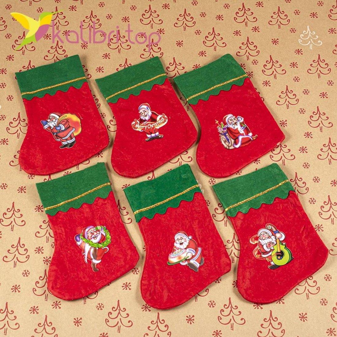 Рождественский декоративный носок микс НК-06 оптом фото 7724