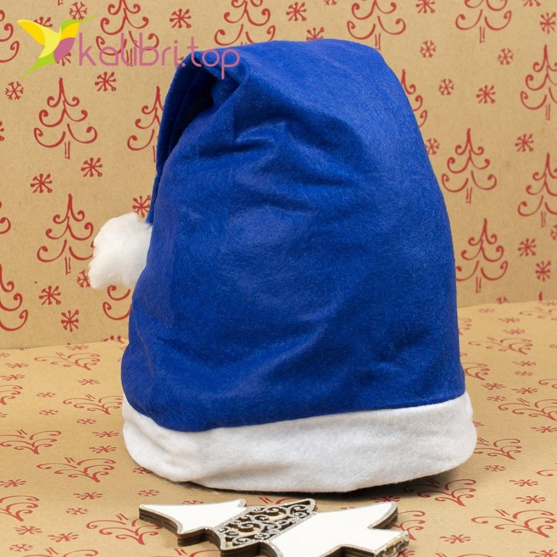 Шапка Деда Мороза синяя HQ-3499 оптом фото 5713