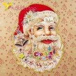 Новогодние наклейки на окна Санта Клаус 49 см оптом фото 1194