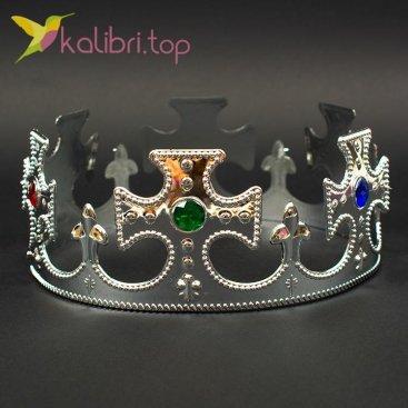 Корона праздничная Короля серебро, оптом фото 1