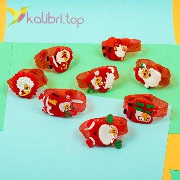 Детский светящийся силиконовый браслет Дед Мороз оптом фото 1