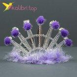 Карнавальная корона пушок фиолетовый оптом фото 1544