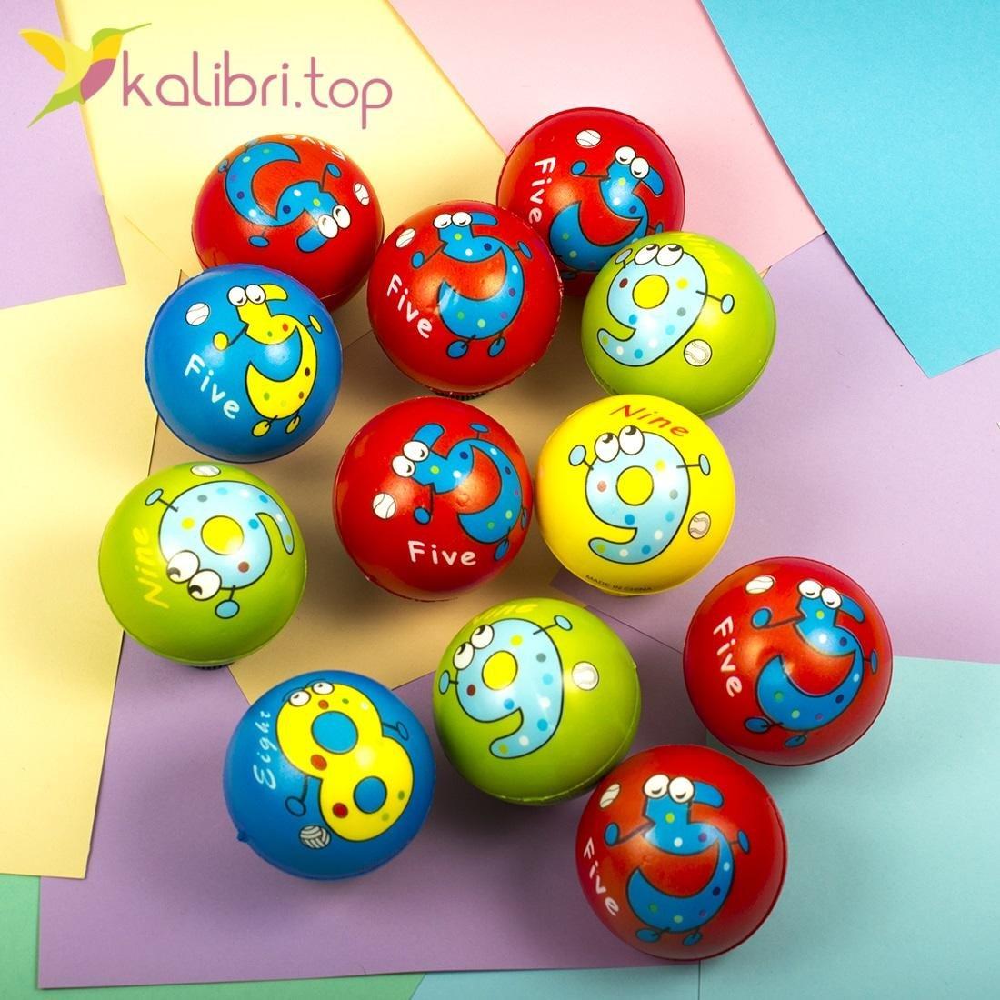 Мячи мягкие, поролоновые Цифры, оптом - фото 1