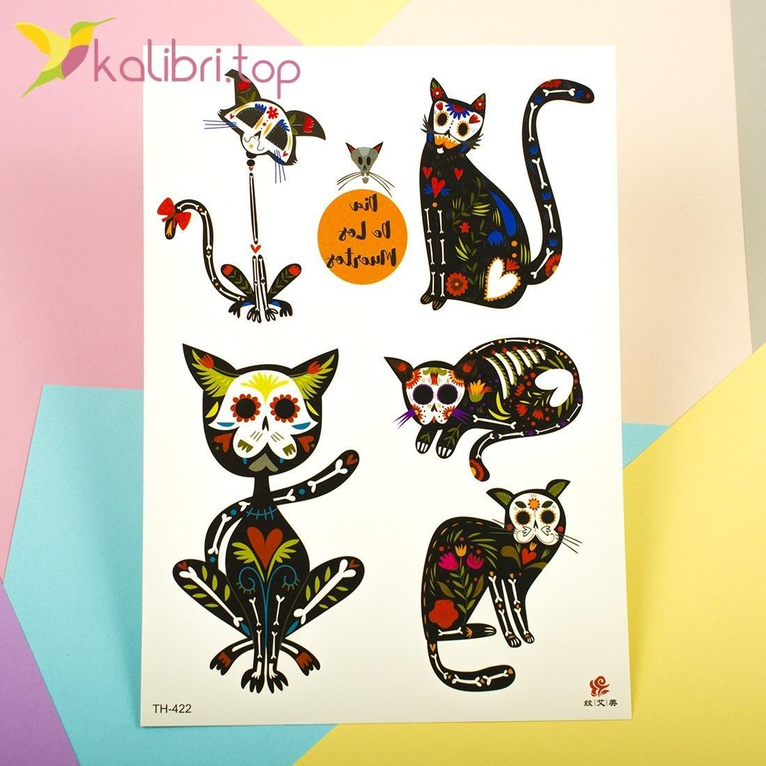 Детские, временные татуировки - коты под рентгеном - Kalibri