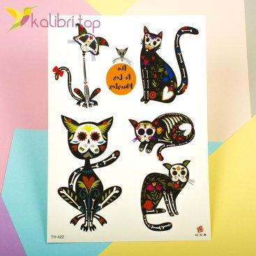 Детские, временные, переводные татуировки - коты под рентгеном, оптом - фото 1