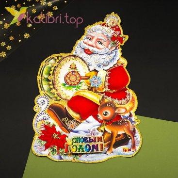 Новогодние наклейки Санта большой, оптом фото 1