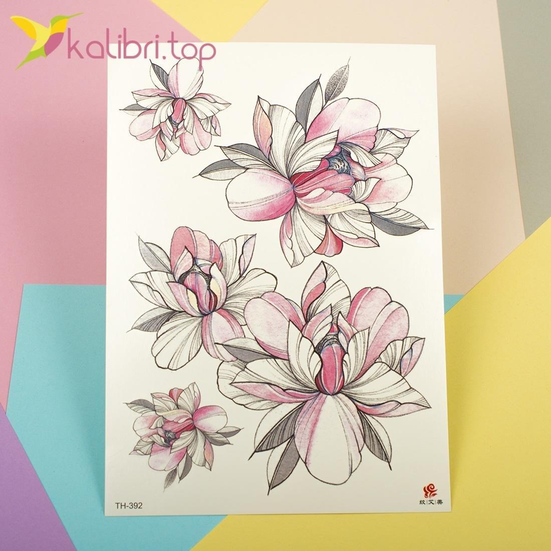 Временные татуировки - цветы оптом фото 1