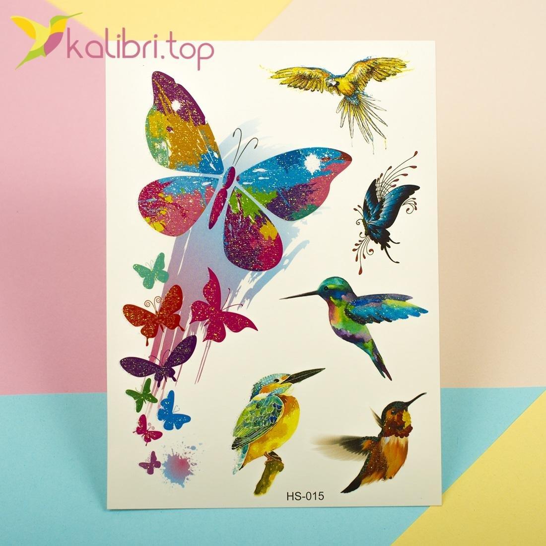 Татуировки с блесточками - колибри и бабочки оптом фото 1