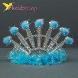 Карнавальная корона пушок голубой оптом фото 55777