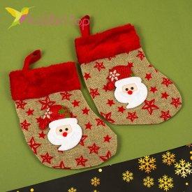 Сапожок для подарков маленький с Дедом Морозом, оптом фото 1