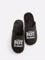 Мужские домашние тапочки The Best Husband черные закрытые, Family Story - 1