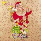 Новогодние наклейки на окна Дедушка Мороз 52 см оптом фотография 027