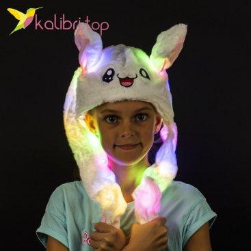 Светящиеся шапка с поднимающимися ушками зайка белый оптом фото 774