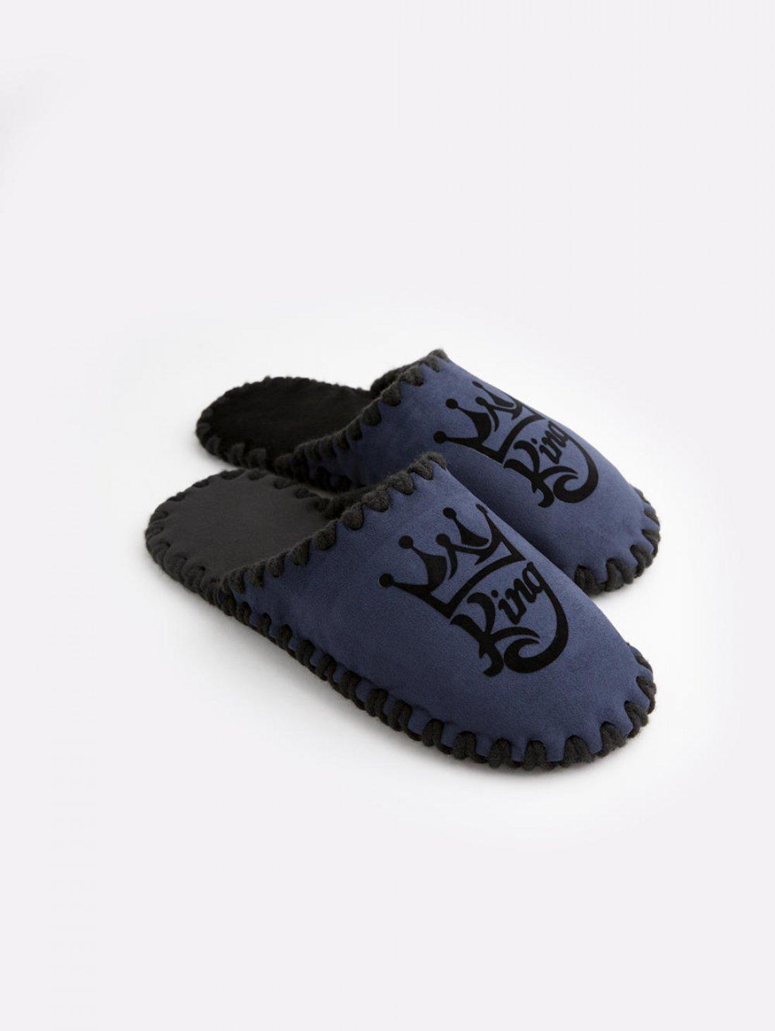 Мужские домашние тапочки King темно-синие закрытые, Family Story - 1